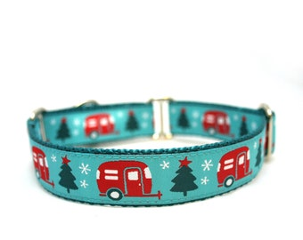 "1"" Christmas Campers buckle or martingale dog collar"