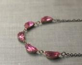 Scalloped pink crystal jewel necklace brass retro 1950's vintage style rhinestone scallops sweet