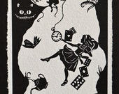 Sale 20% Off // ALICE IN WONDERLAND Papercut - Down the Rabbit Hole - Hand-Cut Silhouette // Coupon Code SALE20