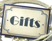 Gifts Sign - Vintage Art Deco Navy - All Handmade in the UK - Wedding