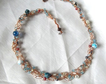 Handmade Beaded Choker, Copper Crochet Wire, Aqua, Turquoise, Gray, Coral, Glass Beads, Pearls