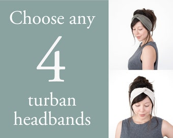 Any 4 Turban Headbands // Turband // Turban Hair Wrap // Fabric Hairband // Stretch Headband // Yoga Sweatband // Fashion Turban