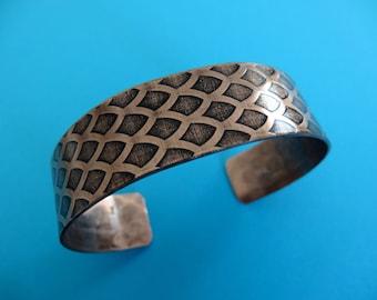 Copper Fish scale cuff- Unique Jewelry - No Text - 5/8 inch thick cuff bracelet