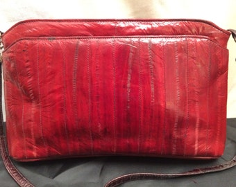 Vintage 1980's Dark Red Eelskin Speedy Bag Purse
