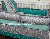 Custom Grey Damask and Jade Aqua Rosette Satin Luxury Posh Baby Nursery with Ruffles COMPLETE Crib Bedding Set CHOOSE & CUSTOMIZE