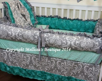 Custom Grey Damask and Jade Aqua Rosette Satin Luxury Posh Baby Nursery with Ruffles COMPLETE Crib Bedding Set CHOOSE & CUSTOMIZE