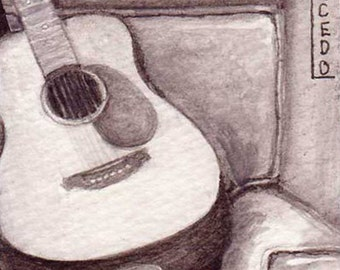ACEO Print Martin Guitar on Chair Gouache black and white by RSalcedo Tiny Art