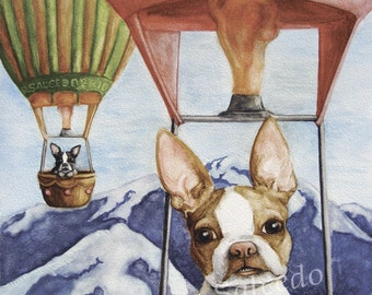 Giclee Print Boston Terrier In Hot Air Balloon by RSalcedo EBSQ A4C Frenchie