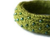Dew Drop Knitted Bangle Bracelet in Chartreuse - Small