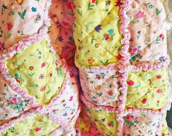 Rag Lap Quilt - Girl's Quilt - Pink and Yellow Flowers - Large Lap Quilt - Floral Rag Quilt - Girl Rag Quilt - Handmade