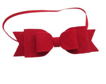 Red Felt Bow on Skinny Red Elastic Headband - Baby through Adult Sizes