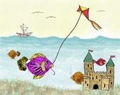 Children's art print, Nursery decor, Flying a Kite  8X10 art print
