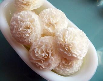 Button Mums Tissue Paper Flowers Ivory  Wedding, Bridal Shower, Baby Shower Decor
