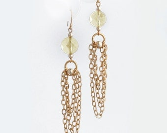 Faceted Citrine and Gold Chain Earrings