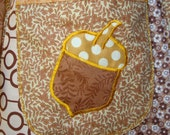 Brown Patchwork Skirt Hippie VINTAGE Maxi Long Full Floor Length spring yellow Cotton Earthy Gold Acorn Applique Retro Patch elyse oRiGiNaLs