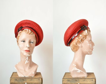 1960s Red Straw Hat --- Vintage Red Beret