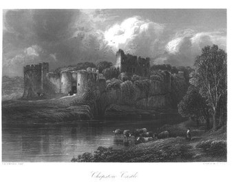 CHEPSTOW CASTLE Lovely ~ Europe Landscape Architecture ~ Antique Art Print Steel Plate Engraving 1800s [Inv#54