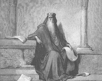 KING SOLOMON Jew Israel Bible ~~ 1800s Old Vintage Antique Art Print Engraving Biblical Gustave Dore [inv#36