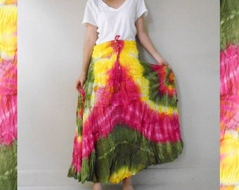 Boho Hippie Gypsy  Tie dye cotton Patchwork long smock  waist Skirt S-L (04)