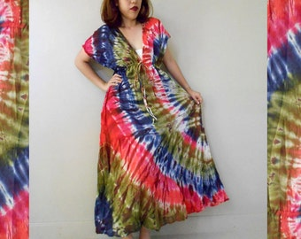 New Tropical Art Gypsy Handmade Orange Yellow Green Tie Dye Cotton maxi Kimono long Maxi Casual Dress S-L (T10)