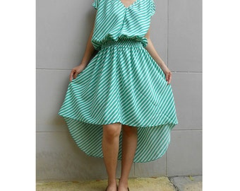 Cute green V-Neck boho summer smock  maxi dress  S-L (SM 01)
