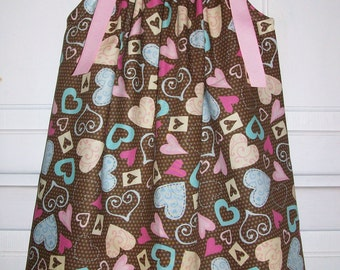 SALE 12m Pillowcase Dress with Hearts Brown and Pink Dress baby dresses toddler dresses Girls Dresses Party Dress Valentines Day Dress