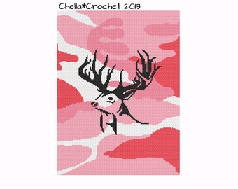INSTANT DOWNLOAD Chella Crochet Camou Camouflage Pink with Black Deer Head Cross Stitch Crochet Knit Pattern Graph Chart .PDF