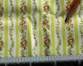 Dollhouse Miniature Victorian UPHOLSTERY FABRIC Yellow Rose Stripe 1/12th