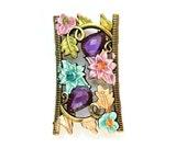 Rhinestone jewel bead, metal base with butterfly and flowers, 2 purple rhinestones, retro vintage style