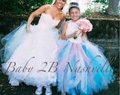 Flower Girl Dress,  Wedding Flower Girl,  Pink and Aqua Dress, Ivory Satin Rosette Flower Girl Dress in Aqua and Pink  All Sizes Girls