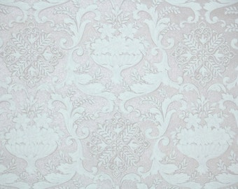 1940s Vintage Wallpaper by the Yard -  Pale Pink amd White Textured Damask
