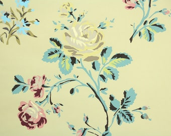1950s Vintage Wallpaper by the Yard - Floral Wallpaper with Pink and Yellow Roses and Flowers on Yellow
