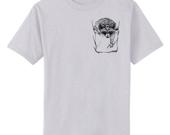 Raccoon in Pocket Art T-Shirt Youth and Adult Sizes