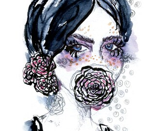 Tears of Roses - fine art print Illustration
