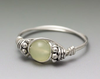 New Jade Bali Sterling Silver Wire Wrapped Bead Ring - Made to Order, Ships Fast!