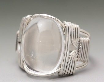 Clear Crystal Glass Cabochon Sterling Silver Wire Wrapped Ring ANY size