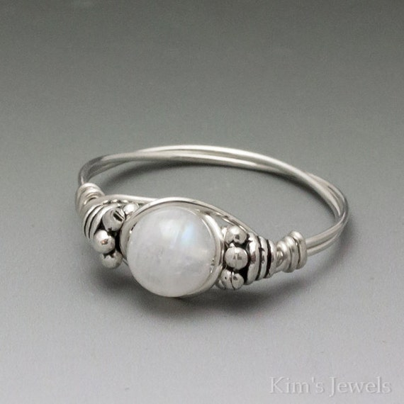 Rainbow Moonstone Bali Silver Wire Wrap Ring ANY size