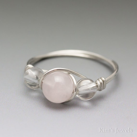 Rose Quartz & Clear Crystal Quartz Silver Wire Wrapped Bead Ring