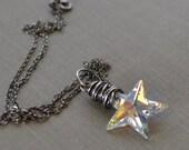 Star Necklace, Oxidized Sterling Necklace, Wire Wrapped Star, Aurora Borealis Swarovski Star Pendant, North Pole Star, Crystal Star