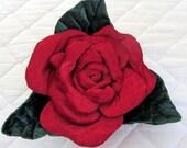 Soft Sculpture Scarlet Red Rose Pillow, Rose Pillow, Flower Pillow