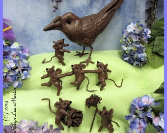 PDF Pattern Chocolate Crow and Chocolate Mice, Soft Sculpture