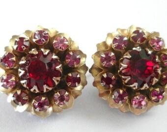 Vintage Rhinestone Earrings Pink & Red GORGEOUS