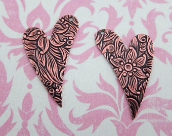 2 Copper Heart Tapestry Charms 2833C