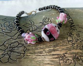 Pink and Black Lampwork Bead Bracelet