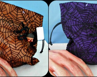 Fabric Spider Web with Spider Drawstring Bags