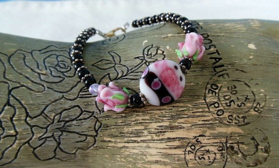 Pink and Black Lampwork Bead Bracelet