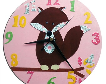 Fox Clock / Children's wall Clock / Nursery Clock - Blue, Pink, Yellow