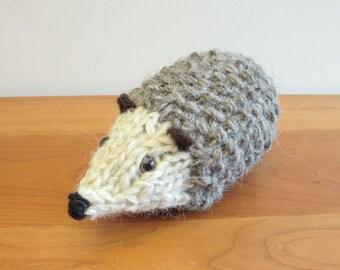Hedgehog Stuffed Animal, handknit from wool in brown and tan, handmade stuffed animals.
