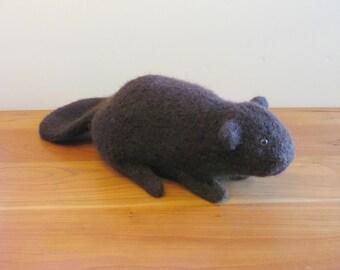 Plush Beaver Stuffed Animal. Handmade Stuffed Animals Fiber Art Sculpture