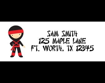 30 Personalized Return Address Labels  - Ninja